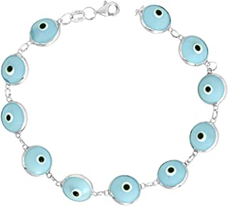14k Gold and Sterling Silver Evil Eye Bracelet 10 mm Glass Eyes Available in, 7 inch