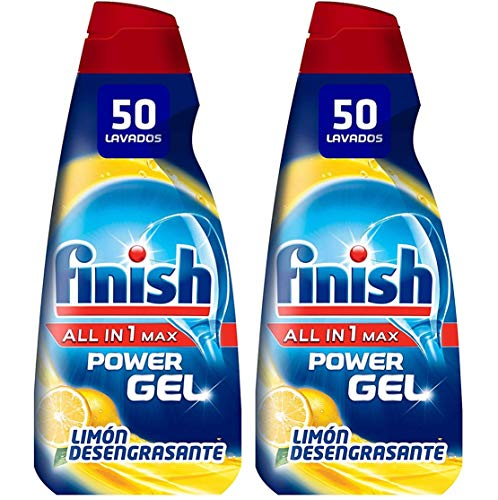 Finish All in 1 Max Power Gel Limón Desengrasante Detergente Gel para el Lavavajillas, 2 unidades - 100 lavados