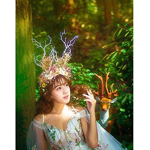 sd finger Forest Fairy Witch Elk Antler Headband Tree Branch Flower Rose Hair Loop Headdress Photography Props Christmas Cosplay Costume Headwear