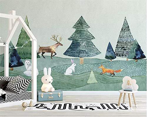 Maßgeschneiderte Fototapete Handgezeichnete Elch Wald Tier Kinderzimmer Hintergrund Wand 3D Tapete Tapete-200 * 140Cm