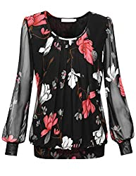 top rated BAISHENG GT Ladies Mesh Blouse Long Sleeve Pleated Front Large Black Floral 2021