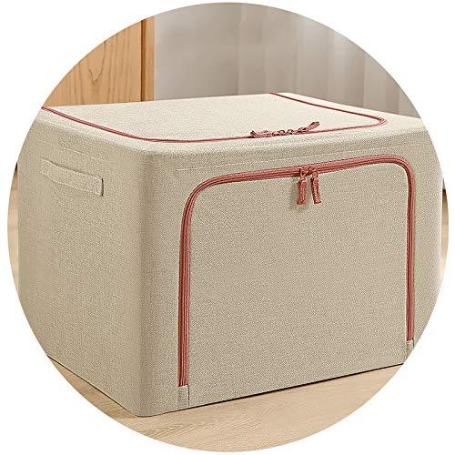 QNN Caja de Alenamiento de Ropa Tela Caja de Acabado para el Hogar Caja de Alenamiento Plegable Bolso de la Cesta de Ropa de Vestuario Caja en Movimiento/Beige/S