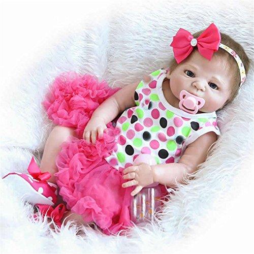 57 cm Reborn Baby-Puppe realistische Silikon-Vinyl-Girl Body Neugeborenen-Look Real Kids Geburtstag Weihnachtsgeschenk Geschenk Geburtstag Geschenke reduzieren Angst Hilfe Autismus schwangere Frauen