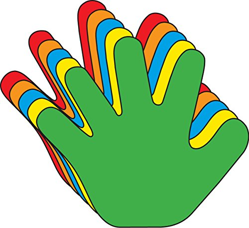 """5.5"""" Hand Assorted Color Creative Cut-Outs, 31 Cut-Outs in a Pack for Kids' Craft, Unity, Handprint Wreath, School Craft Projects."""