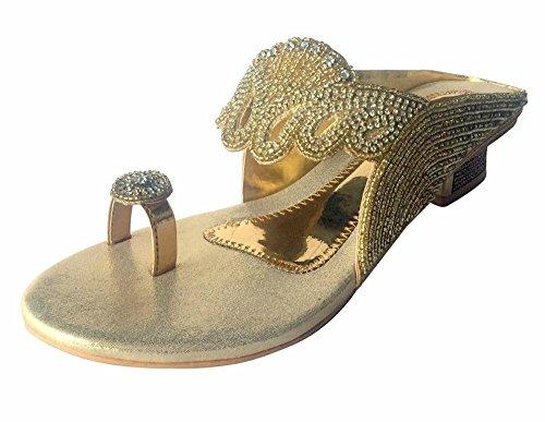 Schritt N Style Damen Indischen Bollywood Brautschmuck Schuhe Heels Sandalen Slip Ons Khussa Juti, Gold - Gold - Größe: 41