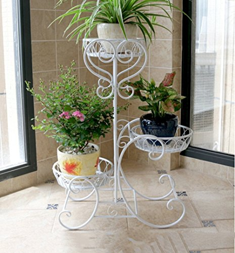 Khkfg Porte-fleurs, fer Plusieurs couches balcon Salon intérieur et extérieur Plateau de style européen Plateau de fleurs Porte-pot de fleurs Stable fort économiser de l'espace 52 * 28 * 75cm