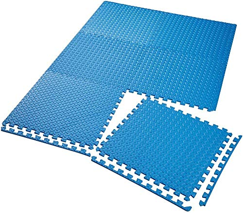 Schutzmatte Set Fitnessmatte | rutschfeste schmutzabweisende | Verbindungssystem für Add-Ons - Verschiedene Mengen und Farben-6x Blau | Nr. 402656