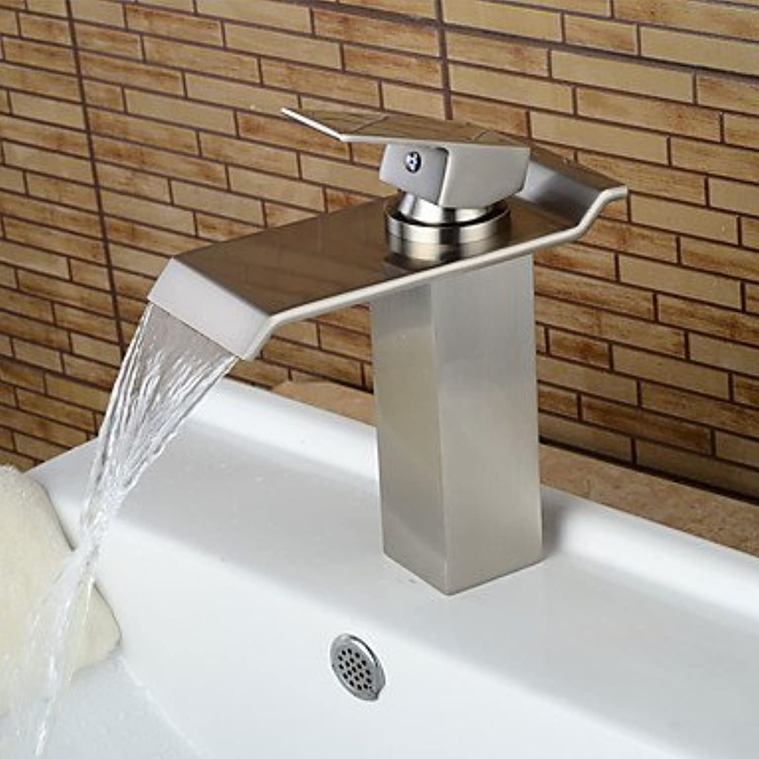 ZLL ?ìContemporary Centerset Waterfall with Ceramic Valve Single Handle One Hole for Chrome , Bathroom Sink Faucet , 58 x 8 cm