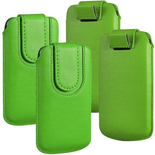 N4U ONLINE - Twin Pack - Huawei Ascend Y300 magnetischer Knopf PU Leder Pull Tab Schutztasche Hülle Tasche - Grün