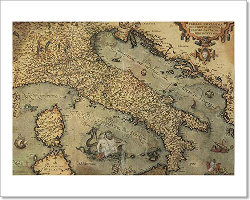 Barewalls Antique Map of Italy Paper Print Wall Art (8in. x 10in.)