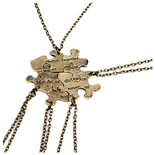 Meetlight Best Friends Forever BF Anhänger Halskette Emaille Autistisches Bewusstsein Puzzleteil Anhänger Halskette Schmuckset - Bronze 5pcs