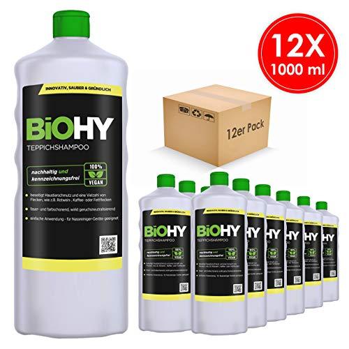BIOHY tapijtshampoo concentraat, 12-delige set (12 x 1 l) shampoo voor tapijt en waszuigers/tapijtreiniger voor het verwijderen van zelfs hardnekkige vlekken en geuren