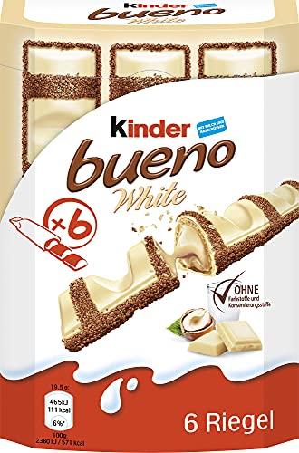 Kinder Bueno Ferrero White – Schokoriegel mit weißer Schokolade – 1 Packung mit je 6 Einzelriegeln (1 x 117 g), 6 x 20 g