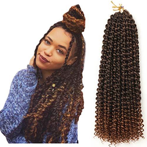 Passion Twist Hair, 7 paquetes de pelo de ganchillo con ondas de agua de 18 pulgadas para cabello largo y bohemio, trenzado de cabello YDDM Passion Twist Crochet Hair Extensiones de cabello sintético