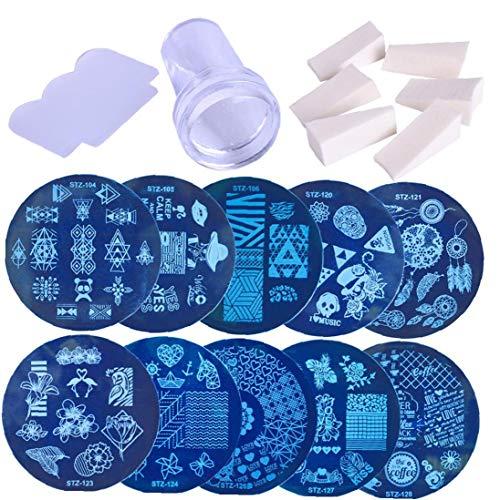 Uayasily 1set Nail Art Image Stamp Stamping Templates Stamper Scraper Kit 10 Manicure Plates Set with Stamper and Scraper Tool for Diy Nail Art