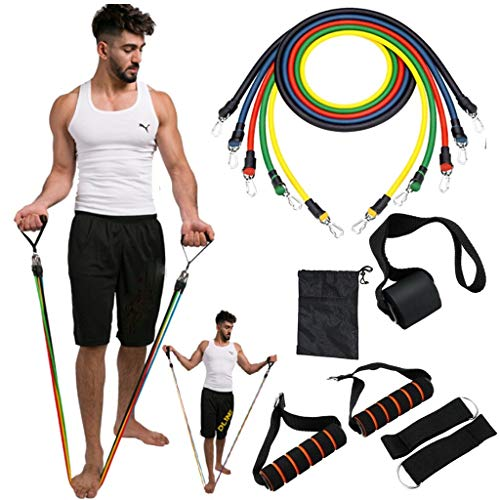 Kidirt Fitness Elastic Bands - Fitness Resistance Bands with Handles Natural Rubber Latex Bands 11PCS / Set with Exercise Tube Bands, Door Anchor, Ankle Straps, Carry Bag, Pull Rope