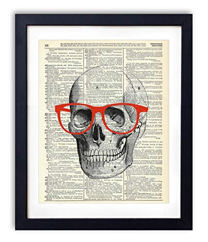 Skull, Skeleton Anatomy Vintage Dictionary Art Print, Modern Contemporary Wall Art for Home Decor, Boho Poster Sign 8x10 Inches, Unframed (Skull with Red Glasses)