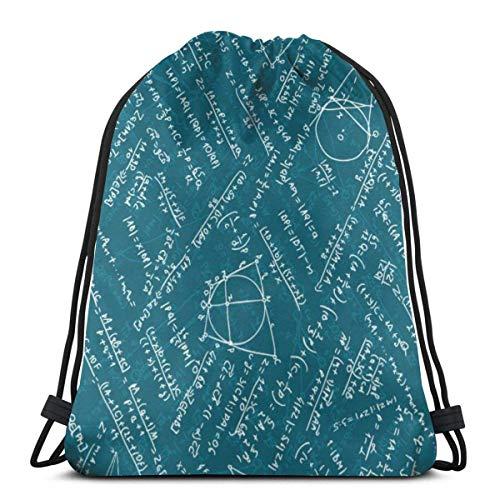 BXBX Trasportare Bags Seamless Pattern Math Shoulder Backpack Drawstring Backpack Nylon Folding Bag for School Home Travel Sport