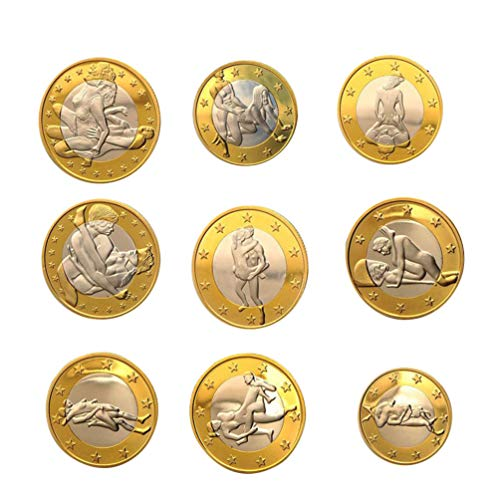 Artibetter 34 Stück Köpfe Oder Schwänze Fordern Münze Sex Münze Set Paar Spiel Münze Gedenkmünzen Sammlung Kunst Souvenirs Geschenke für Erwachsene Paare Liebhaber Golden