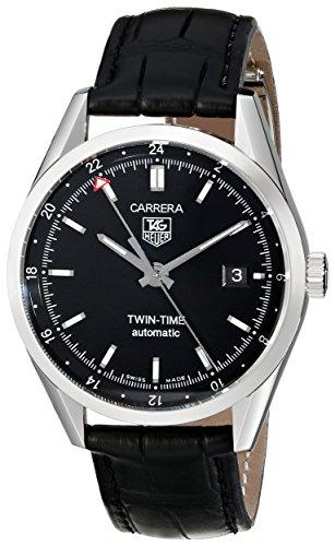TAG Heuer Men's WV2115.FC6180 Carerra Calibre 7 Twin Time Automatic Black Dial Black Crocodile Watch