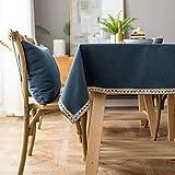 XQSSB Moderno Mantel Tipo Hule Encerado Rectangular Resistente Al Desgaste Grueso Resistente Al Desgaste Impermeable Elegante Azul 140 × 220cm