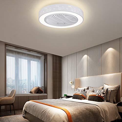 Ventilador de techo LED con iluminación y mando a distancia, 23 pulgadas, moderno y silencioso, lámpara de techo LED de 48 W, intensidad regulable, velocidad del viento, temperatura de color ajustable