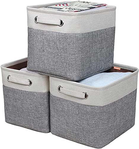 Kntiwiwo Foldable Storage Bin Collapsible Basket Cube Storage Organizer Bins with Dual Carry Handles for Home Closet Nursery Drawers Organizer
