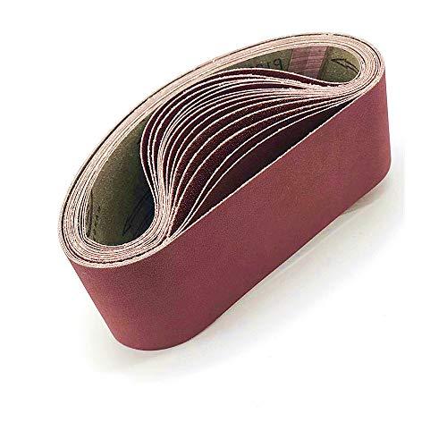 Nastri abrasivi in allumina,100 x 915 mm,40/80/120/180/320,ciascuno 2 nastri in carta vetrata,per levigatrice a nastro,10 pezzi