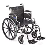 Invacare Tracer EX2 Wheelchair, with Desk Length Arms and T93HAP Hemi Footrests with Heel Loops, 16' Seat Width