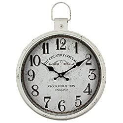 Framy Vintage Wall Clock, Oversized Retro Antique Metal Pocket Watch Wall Clock Home Living Room/Bedroom 31.5x42cm,e