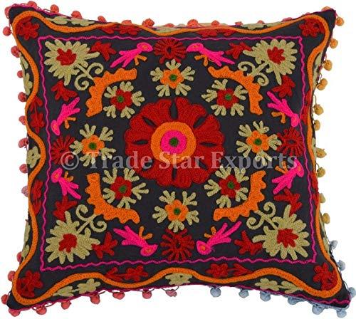 Trade Star - Funda de Almohada Suzani 16x16,Cojines Decorativos Indios,Cojín Bordado Indio,Fundas de cojín de algodón para Exteriores,