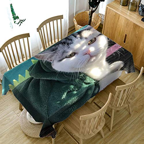 Viner Animal Pattern Thicken Cotton Tablecloth 3D Dog and Cat Dustproof Washable Cloth Rechthoekig en rond tafelkleed, kleur C, 140 x 220cm