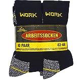 MOUNTREX Arbeitssocken - Herren Socken - Hoher Baumwollanteil (65prozent), Hautsympathisch, Schweißaufsaugend - Herrensocken, Work Socks (43-46, Schwarz | 10 Paar)