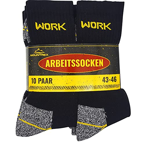 MOUNTREX Arbeitssocken - Herren Socken - Hoher Baumwollanteil (65%), Hautsympathisch,...