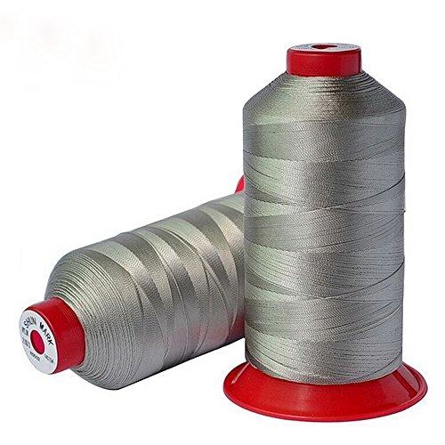 PsmGoods® Hilo de coser de nailon resistente para máquina de coser, color gris claro, 2 unidades