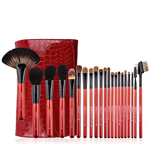 Brosses Maquillage 12 Pcs Pinceau De Maquillage Set Et Case, Pinceaux De Maquillage Haut De Gamme Avec De La Laine De Motif Crocodile Rouge Et Manche En Bois,Rouge