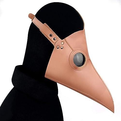 KERVINFENDRIYUN YY4 Leder Steampunk Full Face Pest Arzt Vogel Maske Long & Short Nase Schnabel Faux Cosplay Halloween Weißnachten Kostüm Requisiten (Farbe   Style4)
