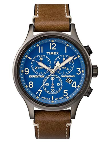Timex Expedition TW4B09000 Scout Chrono Mens Watch, Brown/Blue/Gunmetal