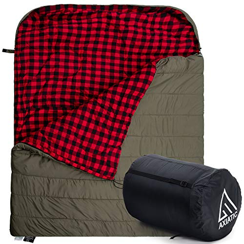 AXIATIC Kodiak King 20f King Size Oversize 2 Person Cold Weather Double Sleeping Bag