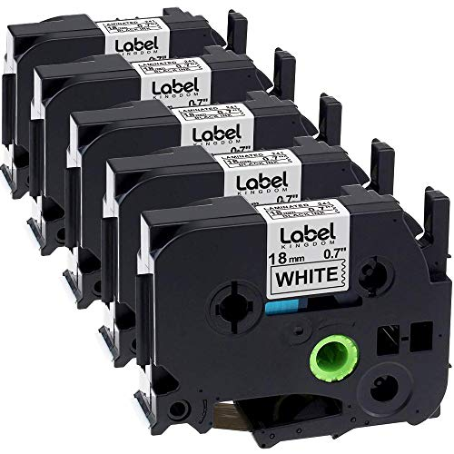 Label KINGDOM Compatible Label Tape Replacement for 3/4 Inch TZe241 TZ241 Label Tape, Compatible with Brother Ptouch PTD400 PTD600 PTD400AD PTP710BT, 18mm 0.7 TZe TZ Tape, Black on White, 5-Pack