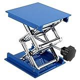 Mesa Elevadora de Tijera,100x100mm Soporte de Laboratorio Mesa Azul Laboratorio Galvanizado de Aluminio Plataforma de Elevación Soporte Rack Tijera Jack Levantador