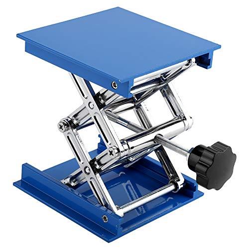Labor Stehtisch Blau Galvanisiertes Aluminium Labor Hebeplattform Ständer Rack Scissor Jack Lifter (100 * 100 * 160mm)