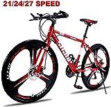 BUK Bicicletta Mountain, Bicicletta da Trekking Bicicletta da Trekking Cross Sospensione Forcella in Acciaio al Carbonio Cerchi a 3 Razze Bicicletta a Doppio disco-27 velocità_26 Pollici