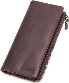 Men's Wallet Casual Clutch Bag Zipper Purse Long Wallet Retro Wallet Candys house (Color : Brown, Size : 195 * 20 * 95mm)