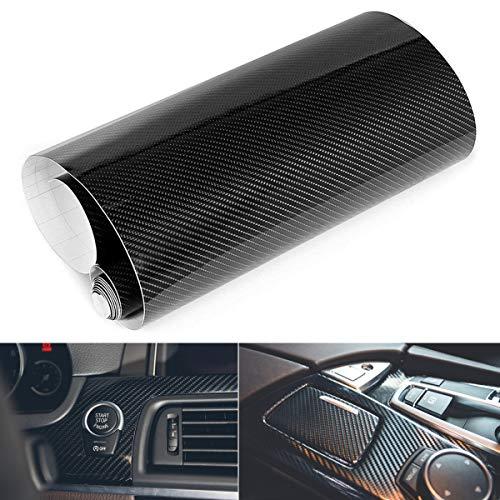 EQLEF® DIY 3D en Fibre de Carbone Vinyle Wrap Autocollant pour Voiture Auto véhicule Ordinateur Keybard Souris Motor décoratif - Noir Couleur 30 * 127cm