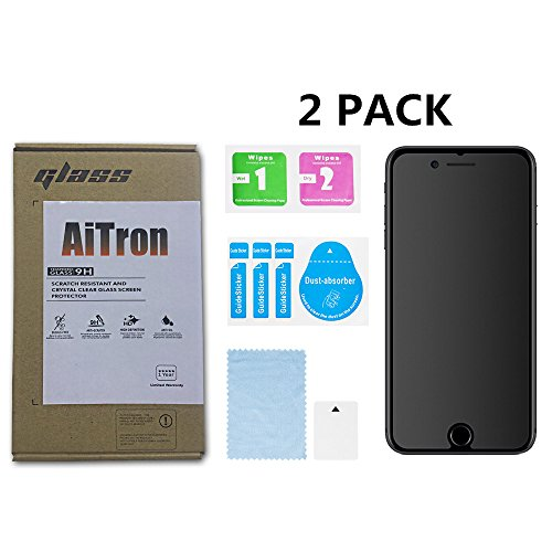 """[2 Pack] AiTron Matte Anti-Glare/Anti-Fingerprint Glass Screen Protector Compatible for Apple iPhone 8 Plus 5.5"""" and iPhone 7 Plus 5.5"""" 2016 2017 Models"""