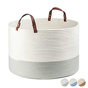"""Extra Large Cotton Rope Basket KRUIO Collapsible Woven Laundry Basket with Handles for Laundry, Nursery, Toys, Towels, Blankets and Pillows Even More, Storage Basket(20""""x13"""", Off-White/Greyish-Green)"""