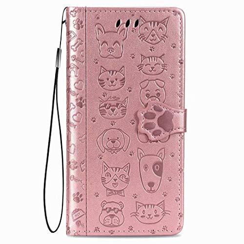 Nadoli Funny Cartoon Embossing Cat Dog Pattern Pu Leather Cat Paw Magnetic Closure Lanyard Standfunction Card Slots Wallet Flip Case Cover for Samsung Galaxy A31