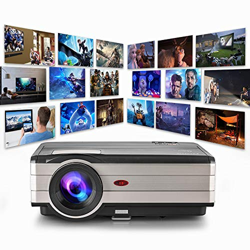 WIKISH 200 Inch Lcd Outdoor Movie Projector 4200 Lumen Led Projector Zoom Support 1080p for Home Theater Video Game Hdmi Usb Vga Av Audio Laptop