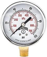 Winters PEM Series Steel Dual Scale Economical All Purpose Pressure Gauge with Brass Internals, 0-100 psi/kpa, 2-1/2